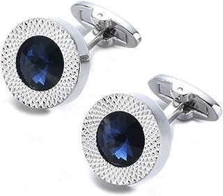 Round Sapphire Blue Crystal Cufflinks Blue Crystal Gem stone Cuff links