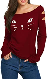 Women Fashion Ripped Cold Shoulder Cat Print Long Sleeve Blouse Tops T-Shirts
