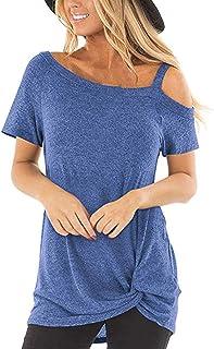AUU Cold Shoulder T-Shirt Women Summer Short Sleeve Shirt Casual Front Knot Side Twist Tunic Tops