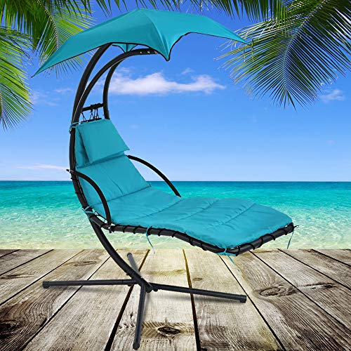 Heavy Duty Hammock Chair with C Stand Hanging Chair Chaise Patio Porch Swing Chair Outdoor & Indoor Durable Arc Stand Air Porch Chaise Lounger with Canopy and Pillow 280 LBS Capacity