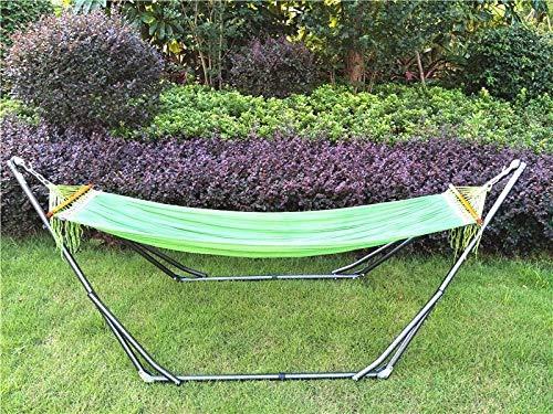 SHARESUN Outdoor met beugel hangmat, dikke ijzeren beugel vrije tijd lounge stoel, volwassen kinderstoel, schommel, camping, tuin, uitje, vakantie vrije tijd, 220 * 100 * 90cm, veelkleurig