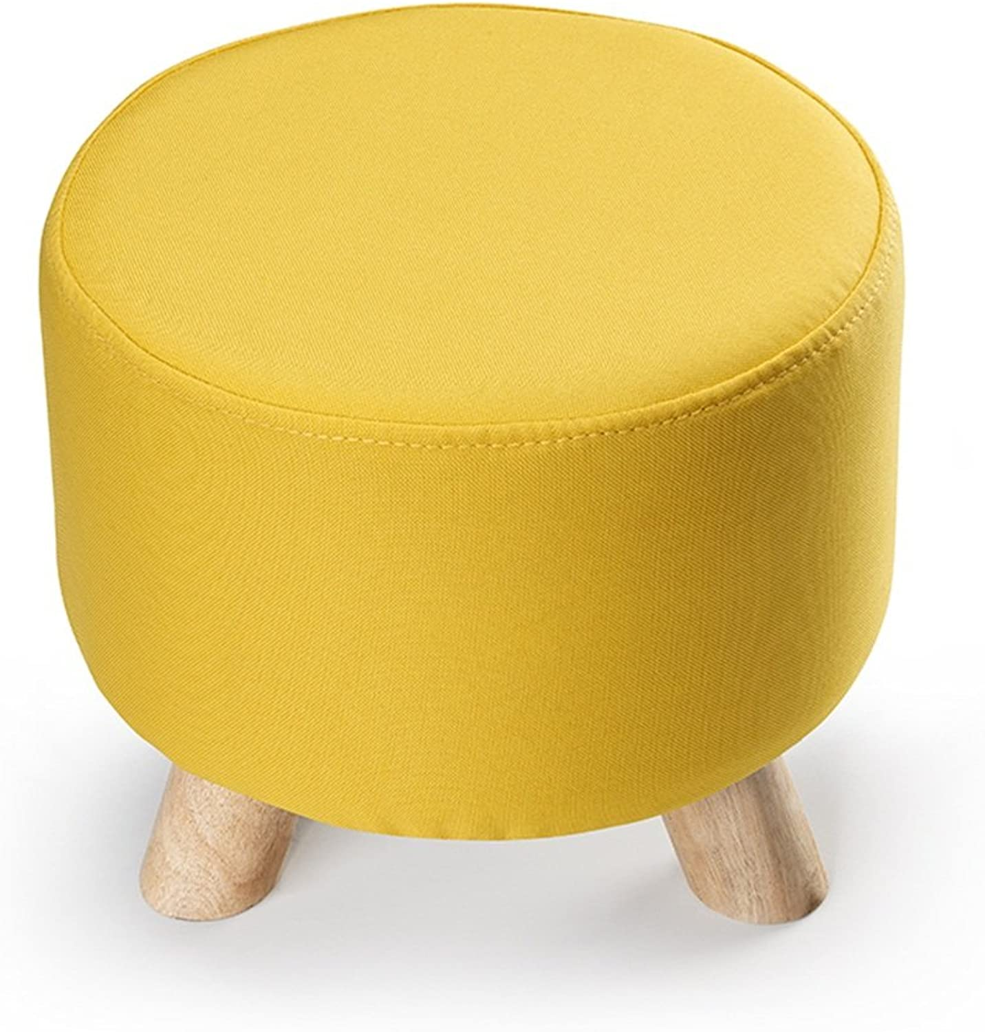 Small stool Removable and Washable shoes stool European-Style Fabric Sofa stool shoes stool Solid Wood Sits (color   Yellow, Size   30  28cm)