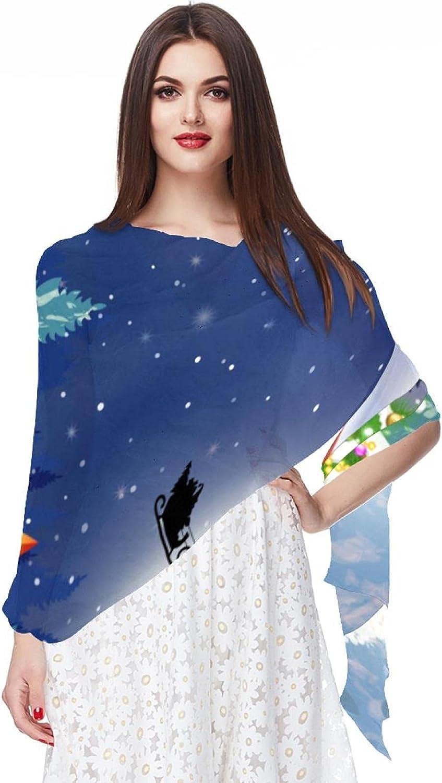 Scarfs for Women Lightweight Print Floral Pattern Scarf Shawl Fashion Scarves Sunscreen Shawls, Christmas Snowman Santa Claus