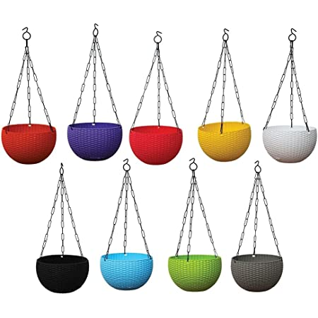 Altino Plastic Hanging with Chain Planter Plastic Plant Pot with Chain, Multicolour, Small Size (Pack of 10)