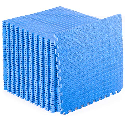 "ProsourceFit Puzzle Exercise Mat ½"", EVA Foam Interlocking Tiles Protective Flooring for Gym Equipment and Cushion for Workouts, Blue 144 Square Feet"