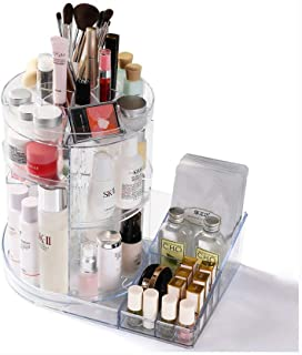 Luggage Cosmetic Cases Makeup Organiser 360 Degree Rotating Adjustable Jewelry and Cosmetic Display Stand 3 Layers Make Up Storage Box - Crystal Clear (Color : Clear, Size : 35cm**25cm*34cm)