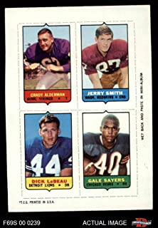 1969 Topps 4-in-1 Football Stamps Grady Alderman/Jerry Smith/Dick LeBeau/Gale Sayers (Football Card) Dean's Cards 4 - VG/EX
