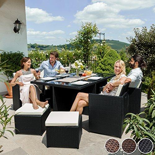 TecTake Rattan Aluminium Garden Furniture Set Outdoor Wicker Black 6+4 Seats + 1 Table (Antique-Brown | No. 401987)