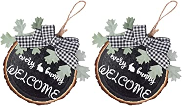 TOYMYTOY 2Pcs Holiday Rustic Wood Sign Easter Bunny Sign Hanging Wall Decor Seasonal Spring Decoration