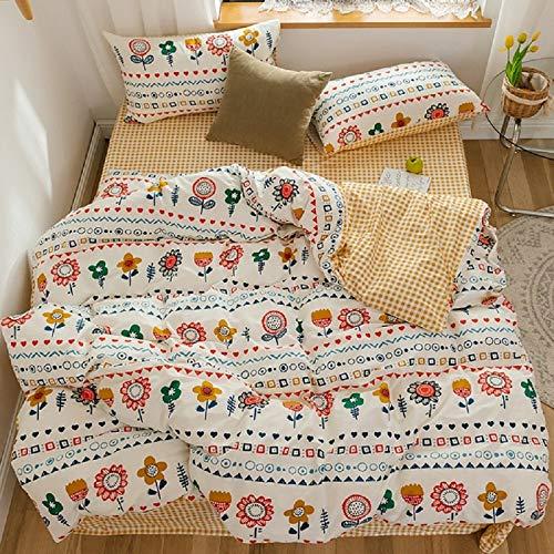 GETIYA Ropa de cama para niña, diseño de dibujos animados, 100 % algodón natural, funda nórdica con cremallera y funda de almohada, Flor blanca., 135 x 200 + 80 x 80 cm