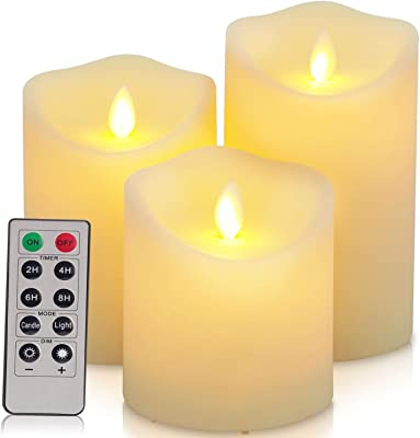 "Flickering Flameless Candles Waterproof Outdoor Candles Battery Operated Candles with Remote Cycling 24 Hours Timer(D: 3.25""x H: 4""5""6"")LED Candles Plastic Pack of 3 Large Pillar Candles"