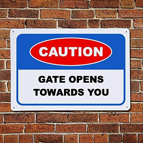 godblessign Caution Gate Opens Towards You Metal Sign,Custom Traffic Warning Safety Street Aluminum Sign,Warning Road Danger Sign,Functional Directivity Symbol,Wall Decor