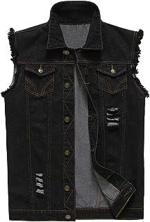 NASKY Hombres Fit Retro rasgada dril de algodón de la chaqueta del chaleco del chaleco chaleco de la tapa…