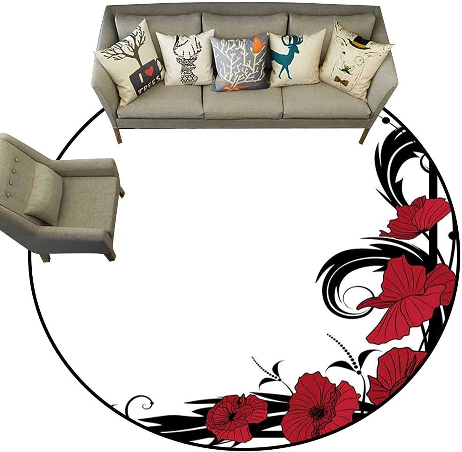 Anti Slip Round Doormat Indoor,Art Nouveau,Poppy Bouquet Branches Romantic Pastoral Idyllic Meadow Blossom Vintage,Black Ruby White,Floor Rug shoes Scraper Door Mat Rug3 feet