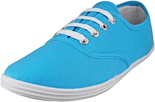 Easy USA Womens Lace Up Canvas Plimsol Sneakers Shoes