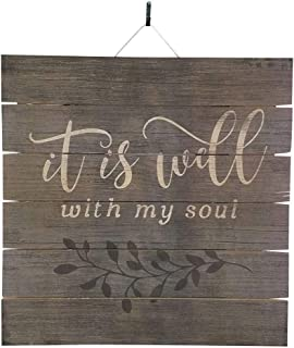 Imprints Plus It is Well with My Soul Inspirational Distressed Wood Sign, 12
