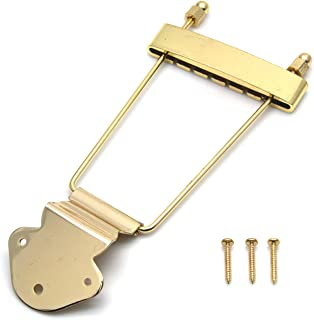 FarBoat Trapeze Tailpiece Bridge Metal with Screws Replacement Accessories for 6-String Jazz Electric Guitar(Gold)
