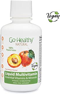 Go Healthy Natural Liquid Multivitamin with Organic Folate, Vegan, Plant-Based Whole Food 32 Servings