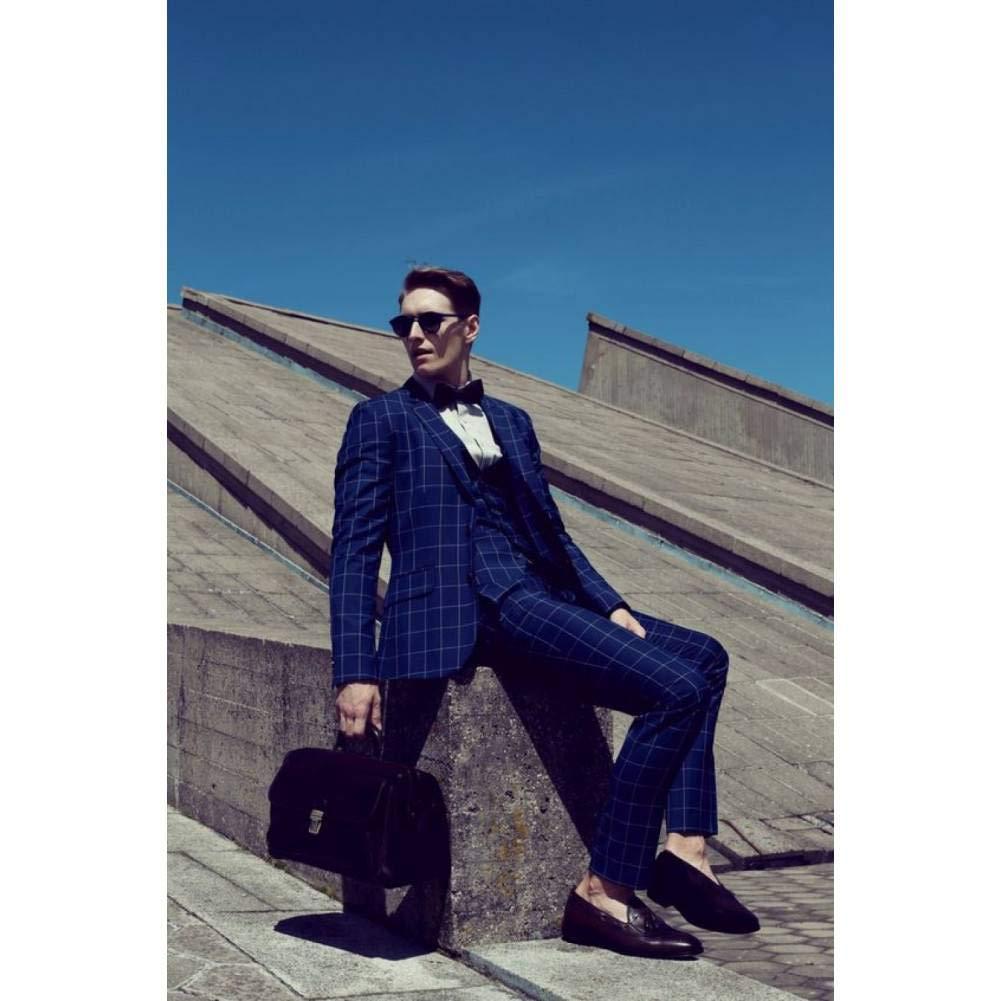 GFRBJK Últimos diseños de pantalón de Abrigo Azul Marino Patrón Prom Hombres Traje Chaqueta Slim Fit Esmoquin 3 Piezas Fiesta de Novio Personalizada Trajes Terno Masculino, XXS: Amazon.es: Deportes y aire libre