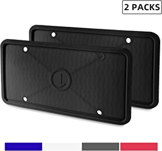 ZAKAA 2 Pack License Plate Frame,Premium Silicone Material, Rust-Proof,Rattle-Proof,Weather-Proof(Black)