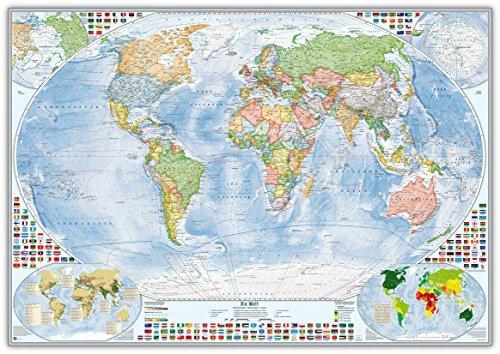 J.Bauer Karten Politische Weltkarte im Alurahmen, 100x70 cm, deutsch, Stand 2019