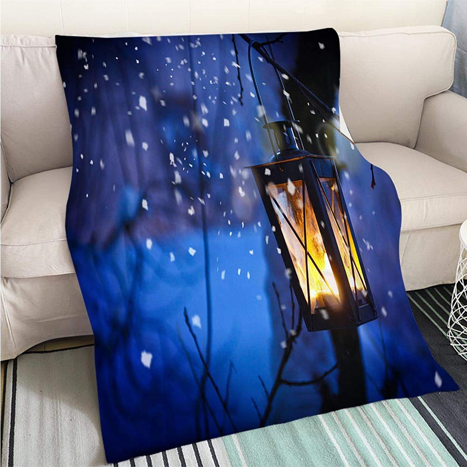 BEICICI Creative Flannel Printed Blanket for Warm Bedroom Christmas Lantern Sofa Bed or Bed 3D Printing Cool Quilt