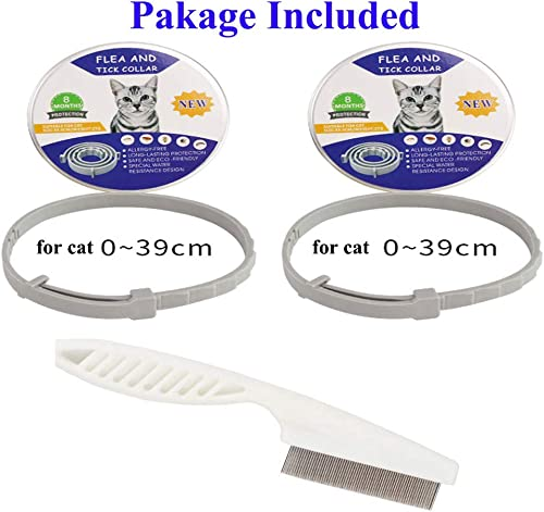 2 Pack Flea and Tick Collar for Cats 15 inch (with a Flea Comb), Safe & Allergy Free, Enhanced with Natural Essential...