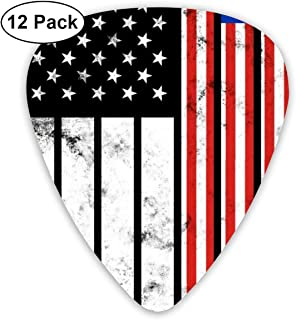 Distressed Malaysia American Flag Guitar Picks For Bass - 12 Pack Plectrums Includes Thin, Medium & Heavy Gauges