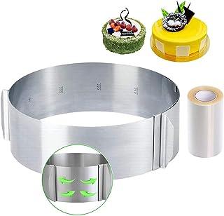 Cercle à Gâteaux Réglable avec Echelle Ø 16-30cm Cercle à Pâtisserie Extensible en Acier Inoxydable Moule Cadre Rond pour ...