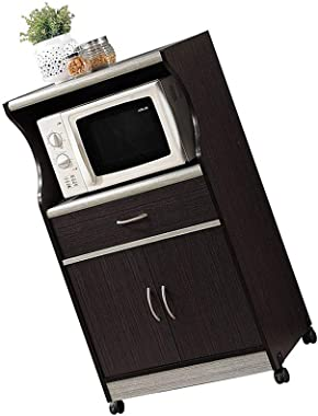 Moveable Kitchen Island Cart on Wheels 2 Doors Sideboard Buffet with Drawer Chocolate Wood Rolling Portable Storage Organizer