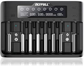 Dlyfull 10 Bays Fast Battery Charger with LCD Display for IMR/INR/ICR Li-ion LiFePO4 Ni-MH/Cd 18650 18500 17500 17650 16340(CR123) 14500 26650 AA AAA C SC Rechargeable Batteries(Battery Not Included)