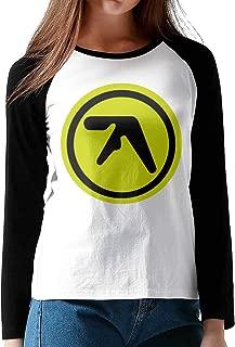 HAIGUANGZ Fashion Aphex Twin Baseball Shirt O-Neck for Female Black