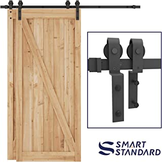 SMARTSTANDARD 6.6ft Bypass Sliding Barn Door Hardware Kit - Upgraded One-Piece Flat Track for Double Wooden Doors - Smoothly &Quietly - Easy to Install -Fit 36