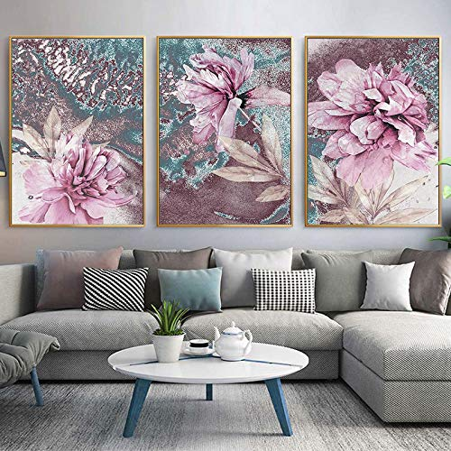 XIANGPEIFBH Scandinavian fashion poster rose flower feather nordic wall art print on canvas modern painting living room decor picture 40x60cmx3pcs Unframed