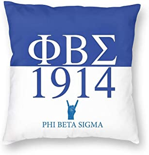 LUENSRO Phi Beta Sigma Pillow Cover Pack, 100% Polyester Fiber Cotton Square Decorative Cushion Cases for Sofa Bed Car 18X18