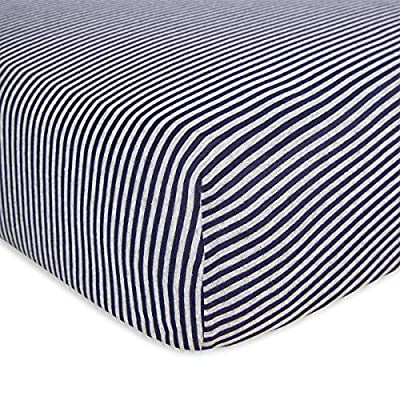 Burt's Bees Baby - Bee Essentials Stripe Fitted Crib Sheet, 100% Organic Crib Sheet for Standard Crib and Toddler Mattresses (Blueberry)