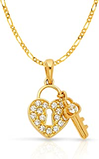 14K Yellow Gold Cubic Zirconia CZ I Love You Heart Charm Pendant with 1.6mm Figaro 3+1 Chain Necklace