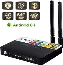CSA93 Plus Android 8.1 Box, 4GB RAM 64GB ROM Bluetooth 4.0 Quad Core 64 Bits 3D 4K Ultra HD,USB 3.0 2.4G/5G WiFi