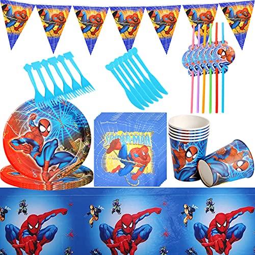 Vajilla para Fiesta de Cumpleaños, Decoración de Mesa de Cumpleaños para Niños, Platos, Tazas, Servilletas, Pancartas, Juego de Decoración para Fiesta de Cumpleaños