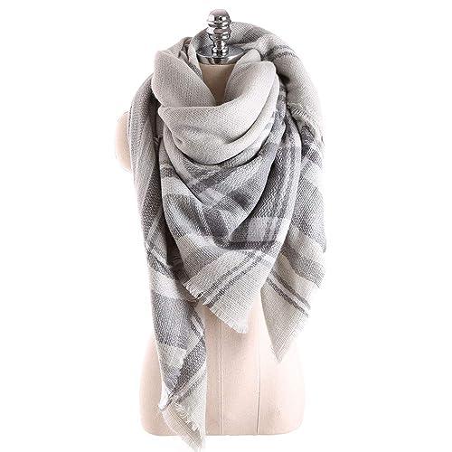 5fbce4428845f Scarfs For Women, HITOP Classic Plaid Soft Tartan Blanket Scarf Wrap, Womens  Winter Tassel