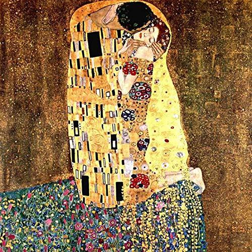 WOVELOT Pintura de Diamante 5D DIY Diamante Cuadrado Completo Bordado Gustav Klimt El Beso Puntada de Cruz Pintura de Diamantes de Imitación Regalo Decoración