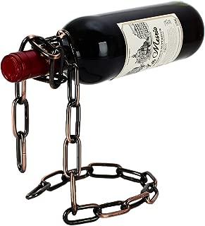 Fantasee - Suspending Chain Wine Holder, Stainless Steel Wine Rack Wine Bottle Holder Novelty for Gift Kitchen Home Decoration (Bronze)