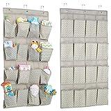 mDesign penderie suspendue en tissu (lot de 2) – rangement suspendu avec 16 compartiments – étagères suspendues pour les articles de bébé – organiseur à suspendre – taupe/nature