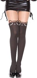 MUSIC LEGS Women's Cat Print Spandex Pantyhose