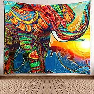 LIGICKY Mandala Elephant Tapestry Wall Hanging, Hippie Bohemian Good Fortune Colorful Elephant Psychedelic Art Background Wall Tapestries Home Decoration for Living Room Bedroom Dorm, 59.1