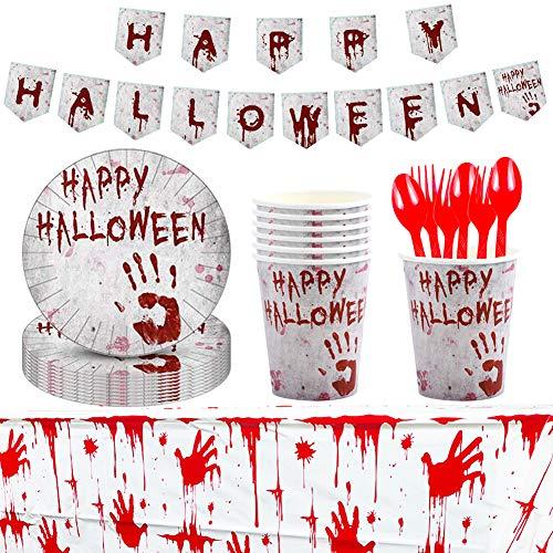 BETOY Platos Desechables y Vasos Cumpleaños 66 Piezas Halloween Desechable Vajilla Accesorio...