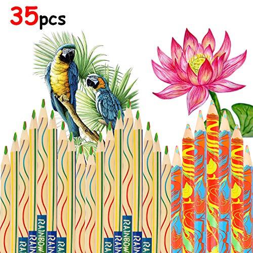 HOWAF 35 Stück Regenbogen Farbe Buntstifte für Erwachsene Kinder Zeichnung Kunst Färbung, Dauerhaft Zeichnung Farbig Bleistift Pack für Färben Basteln Skizzieren Schulmaterial