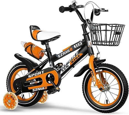 disfrutando de sus compras Axdwfd Infantiles Bicicletas Bicicleta for Niños de 12 14 14 14 16 18 con Ruedas de Entrenamiento Marco de Acero al Carbono, Bicicleta for Niños de Boy's Girl con estabilizadores y Cesta  conveniente