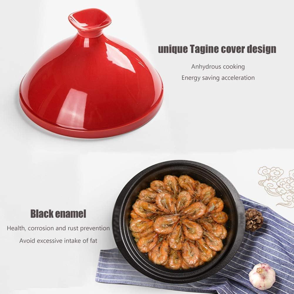 Gflyme Grand tajine de Cuisine 24 cm, Tajine marocain Professionnel avec Base en Fonte émaillée et Couvercle en Forme de cône de Cuisson, Rose Pink