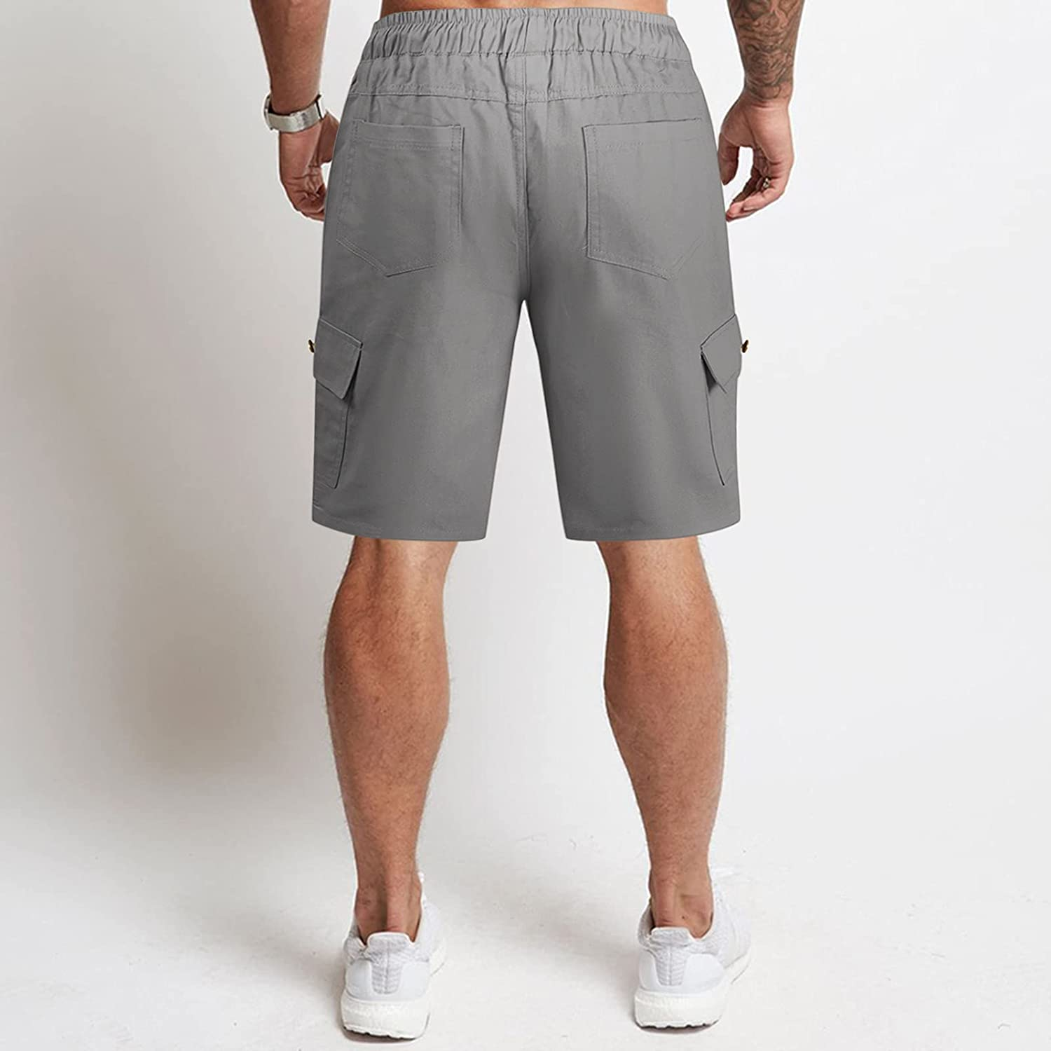 XUNFUN Men's Casual Workout Shorts Classic Fit Drawstring Elastic Waist Summer Beach Swimming Shorts with Pockets